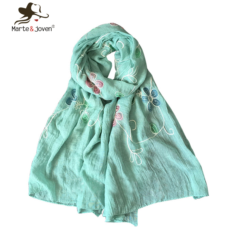 Ethnic Style Floral Embroidery Scarfs and Shawls Simple Design Mori Girl Scarves and Wraps Japanese Style Women Foulard Bandana(China (Mainland))