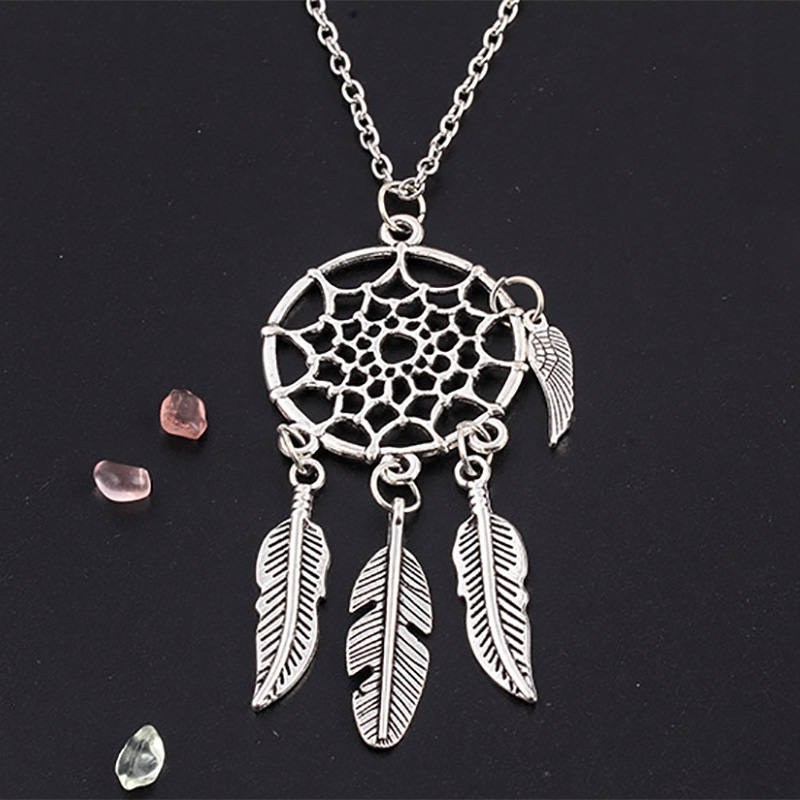 Dream Catcher Pendant Dreamcatcher Necklace Women Bohemia Tassels Feather Female Charm Statement Long Chain Jewelry Accessories(China (Mainland))