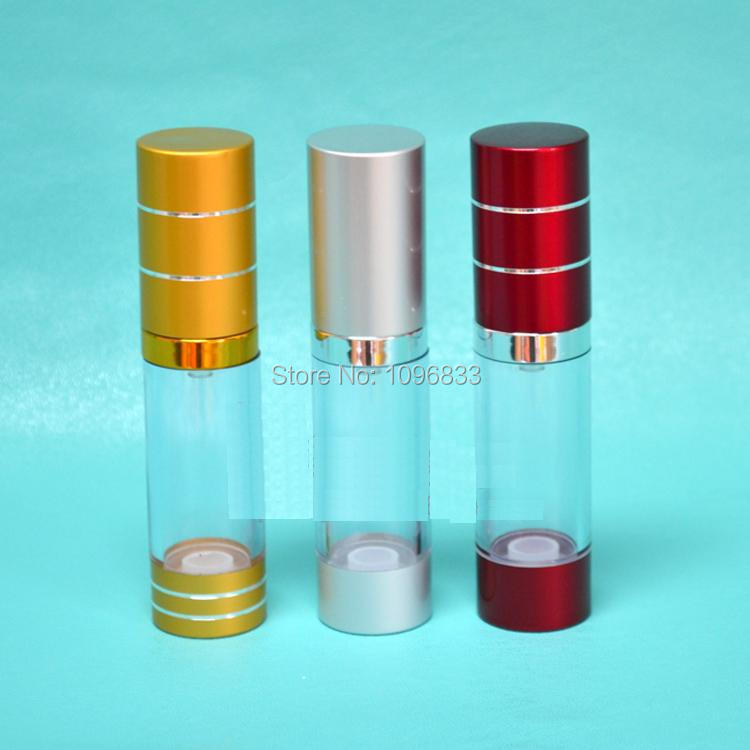 15ML Vacuum Airless Pump Bottle Red color 15CC Cosmetic Essence Lotion refillable Packing bottles Bird Mouth pump 40pcs/Lot(China (Mainland))