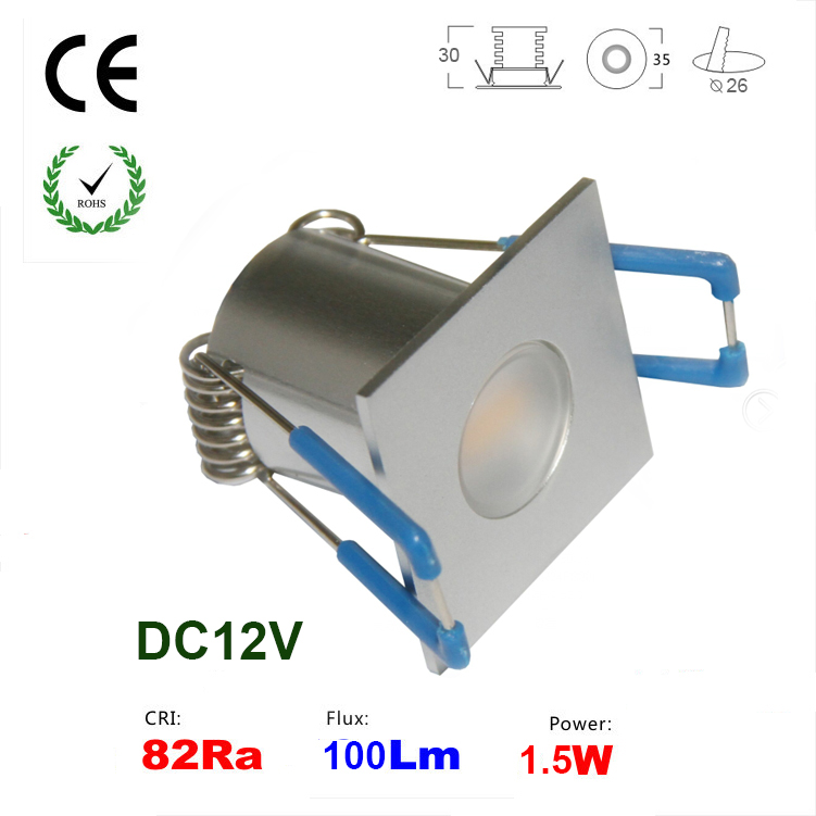 12V 1.5W mini Led Downlight Lamp 80Ra 100Lm Spot Light for Home Bedroom Lamp 3 Years Warranty(China (Mainland))