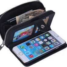 Multi Function Zip Wallet Mobile Phone bags For iphone 5 6 6plus Fold 2 in 1 Magnetic Hard Case with Card holder Photo Frame(China (Mainland))