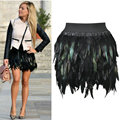 2014 Autumn Latest New Women Feather Mini Skirt Elastic Waist High Street One Size Fits For XS-L Free Shipping