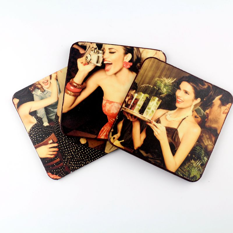 2016 tea cup set mat custom promotion blank mdf back placemats in bulk cork coasters free shipping(China (Mainland))