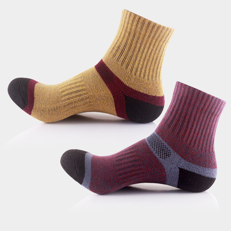 2 pairs/lot cotton athlete sock men climing sock fleece inside comfortable rib intimate design for heel with elastic calze uomo(China (Mainland))