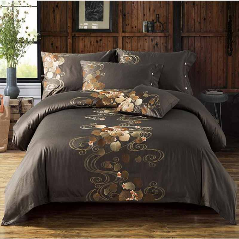 60S Pure Cotton Tribute Silk Quilt Cover King Queen Size 4pcs Flowers Embroidered Bedding Sets Bed Linen Pillowcase 2017(China (Mainland))