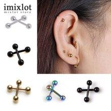 2pcs Ear Nail Bone Barbell Earring Piercing Helix Ear Stud Tragus Ear Piercing Black Silver Gold Cartilage Ring For Men Women(China (Mainland))