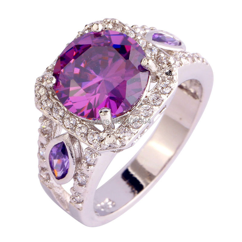 Free Shipping Gorgeous Jewelry Amethyst Whit Topaz 925 Silver Ring Fashion Lady Women High Quality Gift Size 7 8 9 10 Wholesale(China (Mainland))