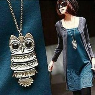 N143 Top Sale Owl Fashion Jewelry Korean Style Retro Metal Owl Necklace Long Sweater Chain Punk European and American Style
