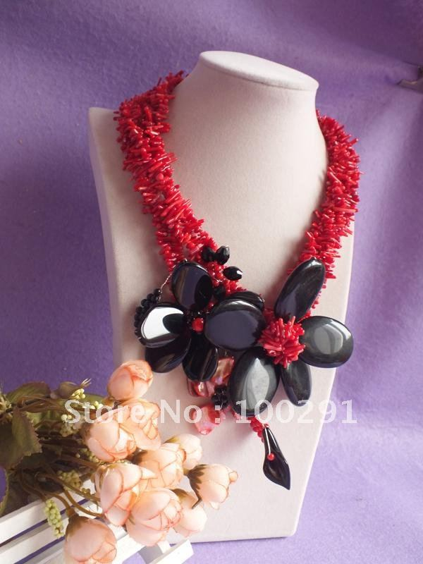 Necklace Red Flower Flower Coral Necklace