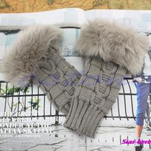 Lady Girl Warm Knitted Faux Fur Fingerless Winter Long Gloves Arm Warmer Mitten(China (Mainland))
