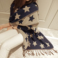 2016 New Fashion Brand Winter Pentagram Sided Thick Winter Long Navy Star Shawl Warm Scarves For