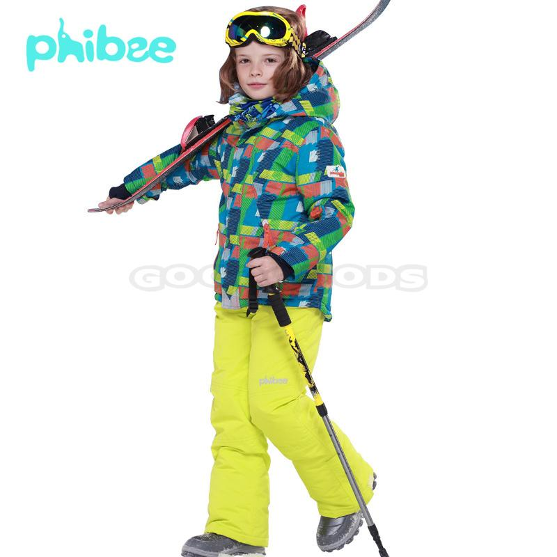 PHIBEE Children Kids Snowboard Ski Clothing Waterproof Mountain Skiing Snow Coat Jacket + Bib Pants Boys Fleece Warm Ski Suit(China (Mainland))