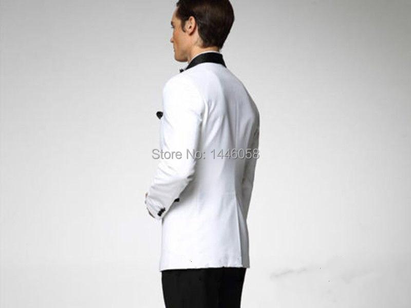 Jacket+Pants+Bow Groom Wedding Tuxedos One Button Men White ...