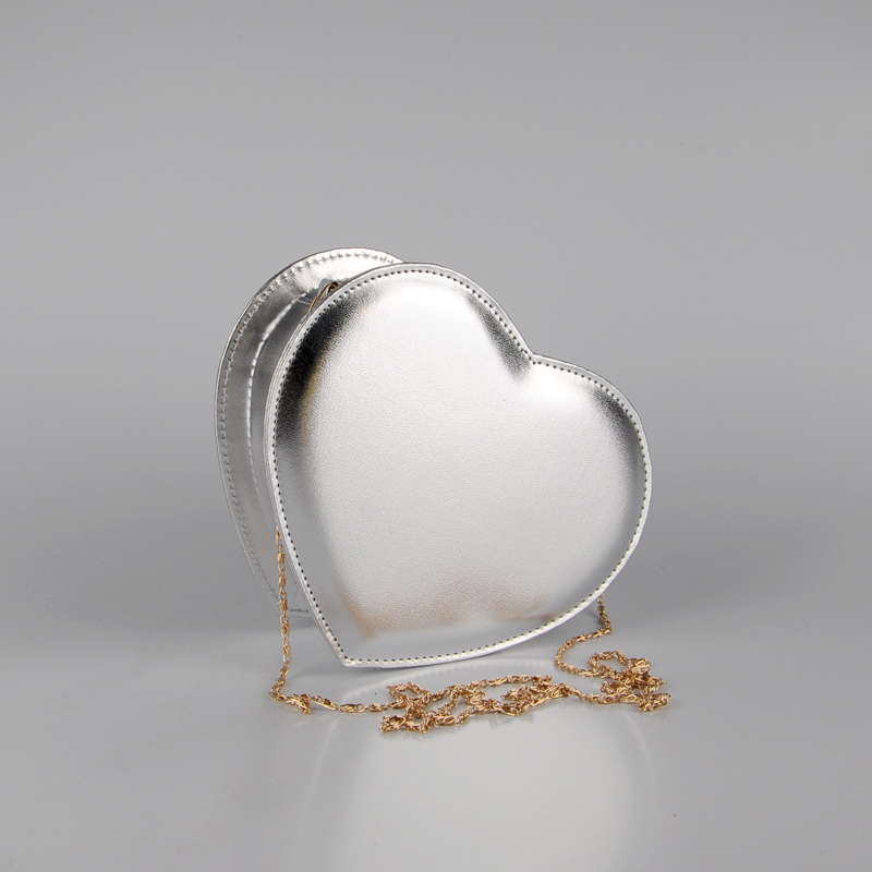 2016 hot sale! lady heart shape  messenger bag PU sweet  handbag  party bag gold sliver bag<br><br>Aliexpress