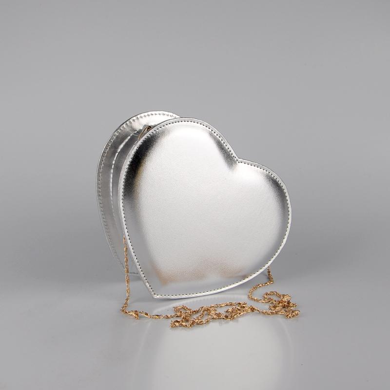 2016 hot sale! lady heart shape messenger bag PU sweet handbag party bag gold sliver bag(China (Mainland))