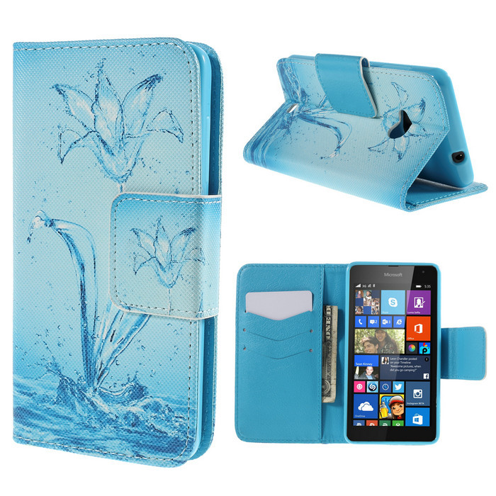 For Nokia Lumia 535 Case Colorful Pattern Water Tubes Wallet Leather Case for Microsoft Lumia 535 / 535 Dual SIM(China (Mainland))