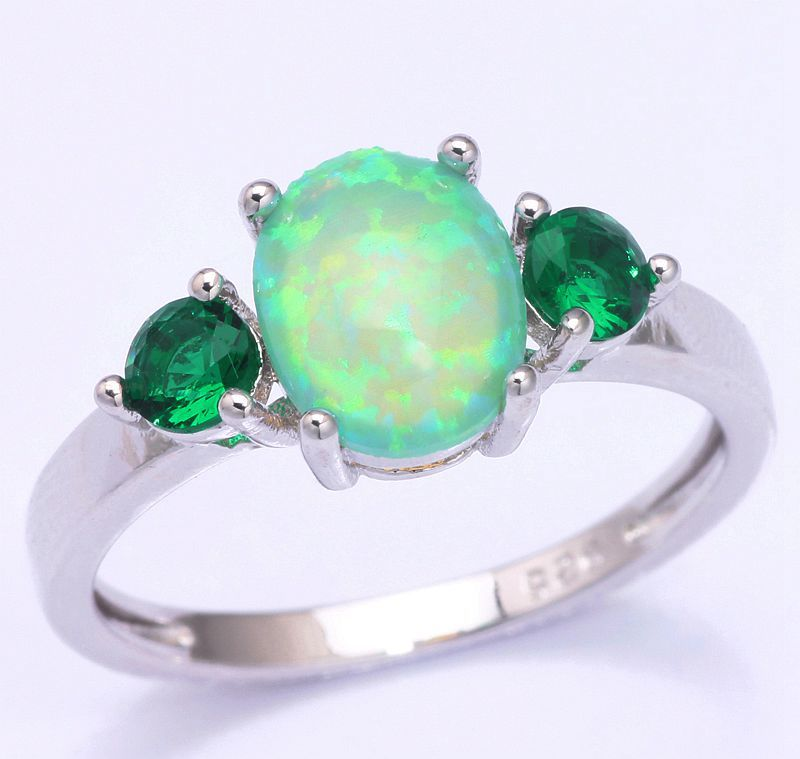 Luxury Bright Color Wholesale Jewelry Green Fire Opal Emerald 925 Silver Stamp Ring Size 5 / 6 / 7 / 8 / 9 /10 OJ5315(China (Mainland))