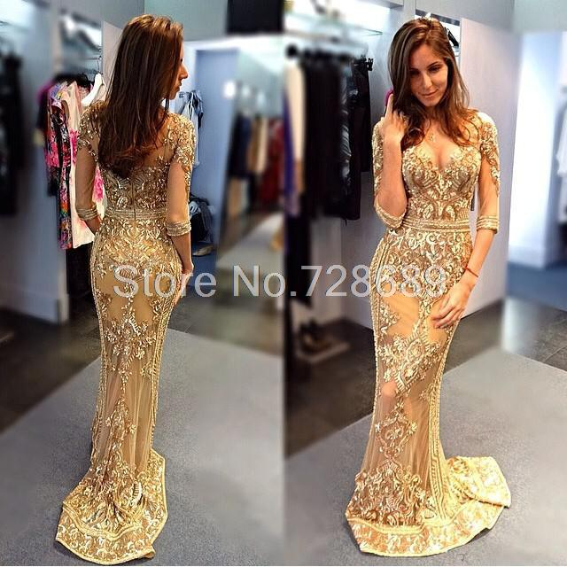Gorgeous V-neck Mermaid Gold Half Sleeve Beaded Crystal Sheer Back Sweep Train Evening Gowns 2016 Real Pageant Prom Dresses Long - Suzhou DanDan Fashion Company store