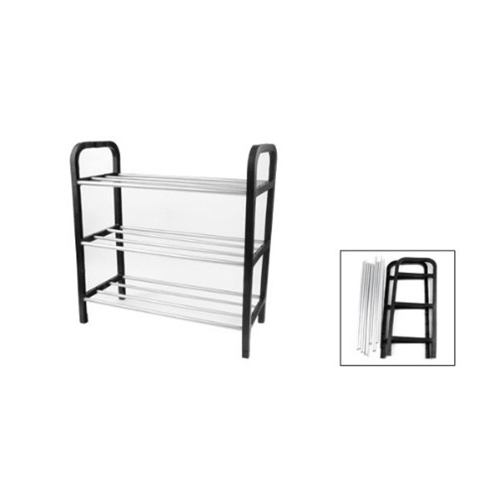 2015 SZS Hot Black Plastic Stand Silver Tone Metal Tube Design 3 Tier Shoes Rack(China (Mainland))