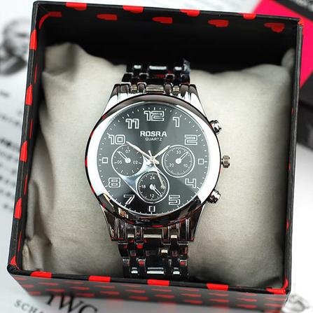 Free Shipping 2014 New Fashion Hot Top Quality Luxury Brand Three Eyes Black Watch Quartz Casual Style Men Full Steel Watch<br><br>Aliexpress
