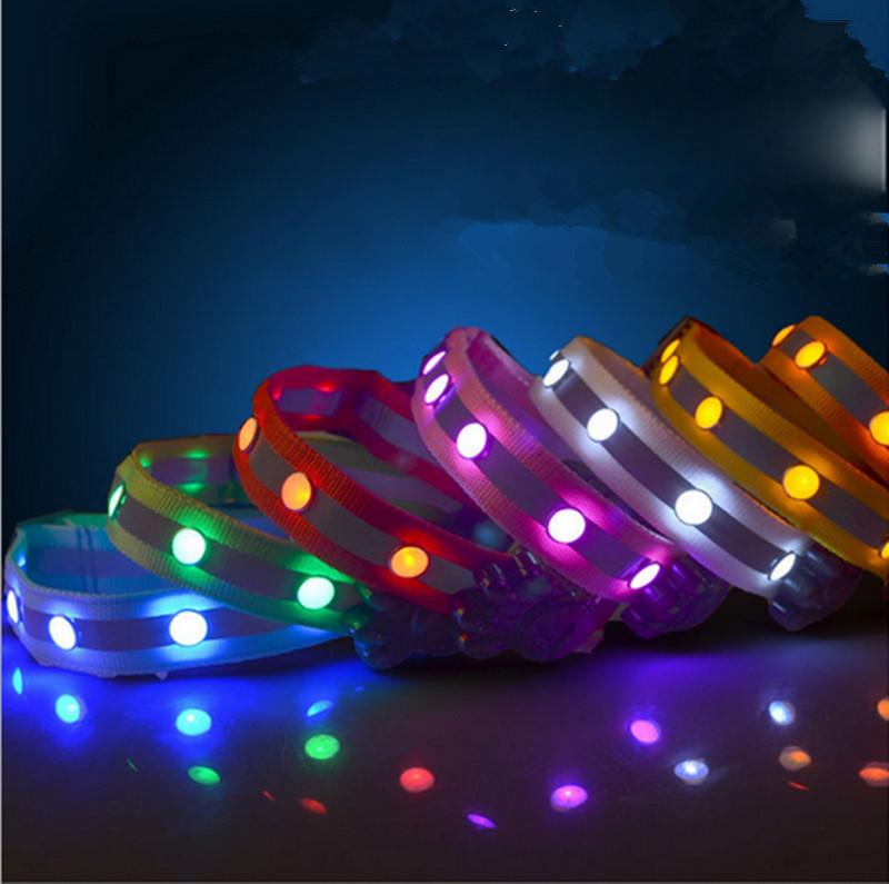 LED Pet Collar Nylon Lights With Gemstone Glowing Dog Safety Collar Reflector Collar In The Dark Light-Up 160310-25(China (Mainland))