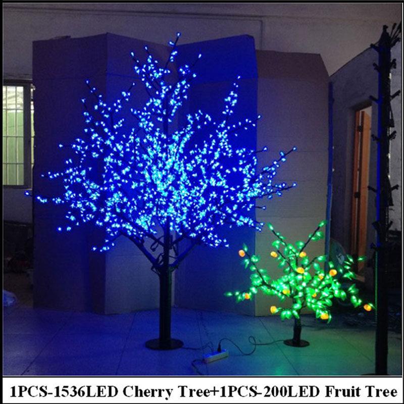 2Meter LED Cherry Tree +0.8Meter 200LEDS Fruit tree indoor christmas holiday decorative blossom tree lights free shipping Europ(China (Mainland))