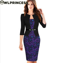 Owlprincess Women Elegant Faux Twinset Belted Tartan Floral Lace Patchwork Work Business Pencil Sheath Bodycon Dress with Belt
