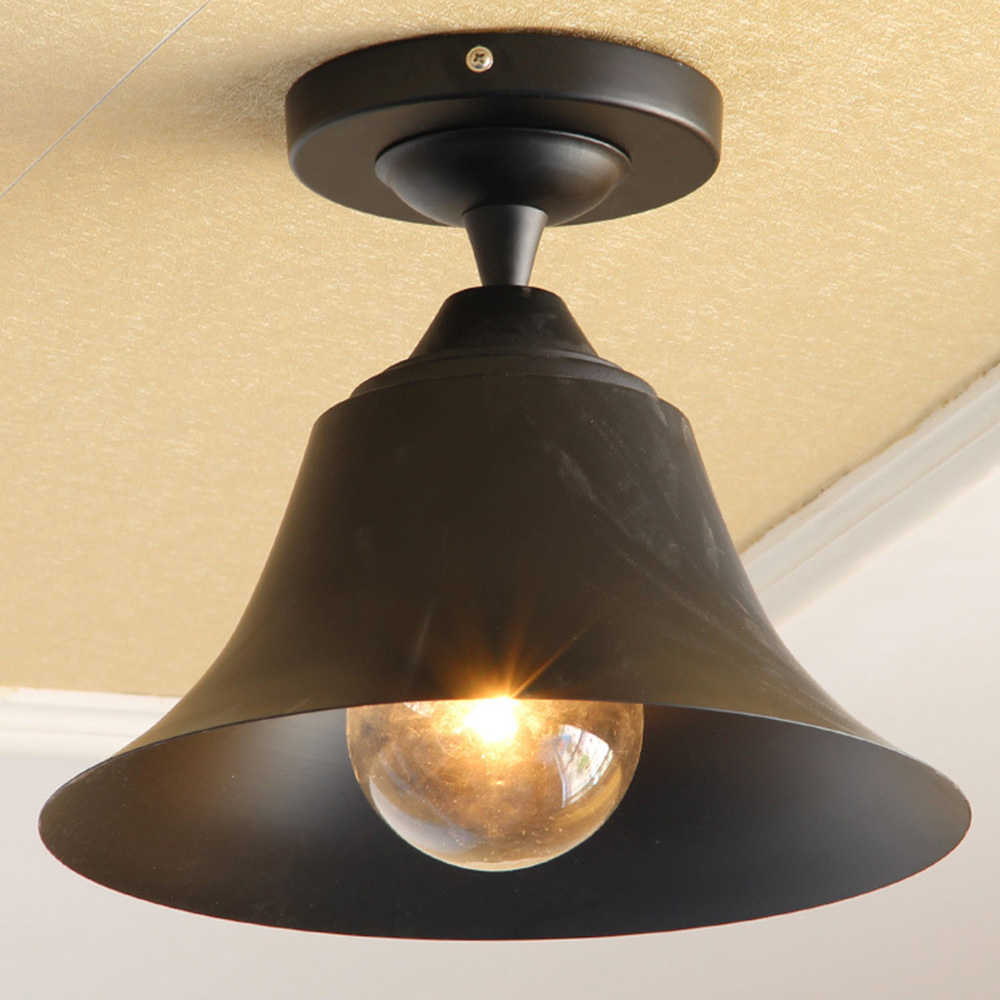 Bell shape outdoor ceiling lights vintage classic black for Industrial outdoor lighting