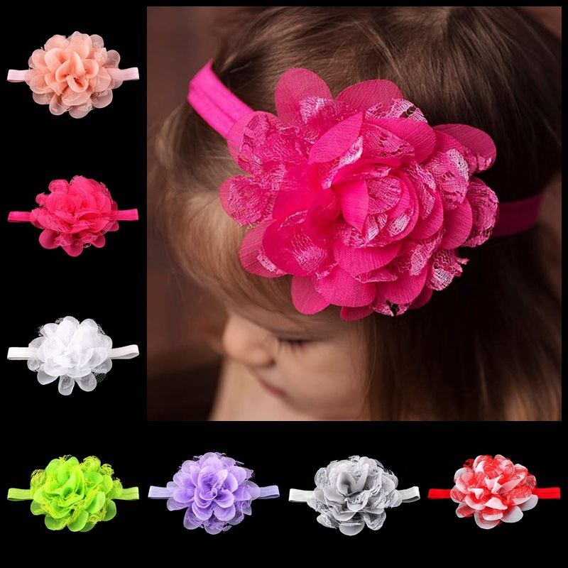 Cute Baby Girl Toddler Headwear Kids Lace Flower Chiffon Elastic Headband Headwraps Infant Hair Accessories(China (Mainland))