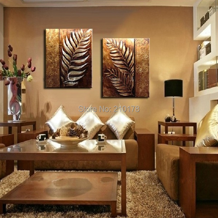 handmade 2 piece golden modern contemporary abstract oil painting on canvas wall art leaf pictures for living room home LE-010(China (Mainland))