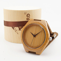 2015 Newest japanese miyota 2035 movement wristwatches genuine leather bamboo wooden watches for men and women