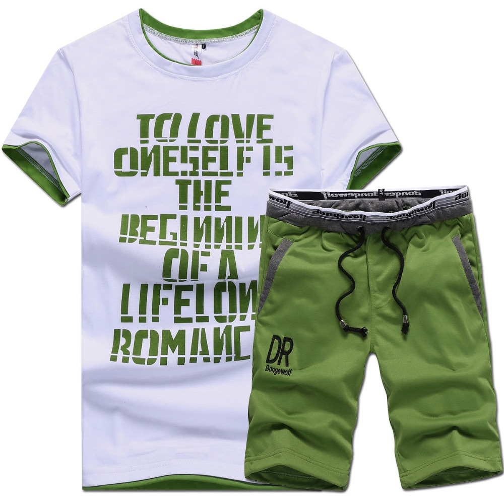 T Shirts + Shorts Brand Clothing Tshirt Men Homme Letter Printed Basketball Running Sports Set M-4XL 2016 t-shirt suit male(China (Mainland))