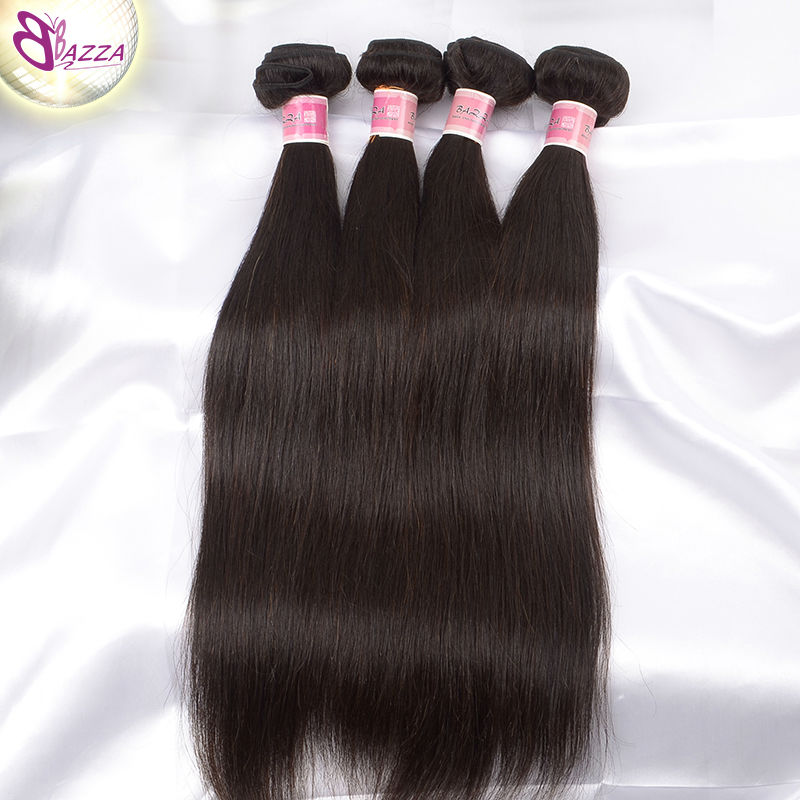 BAZZA Modern show hair 5a 4pcs wet and wavy virgin brazilian straight hair true length human hair brazilian kinky straight hair(China (Mainland))