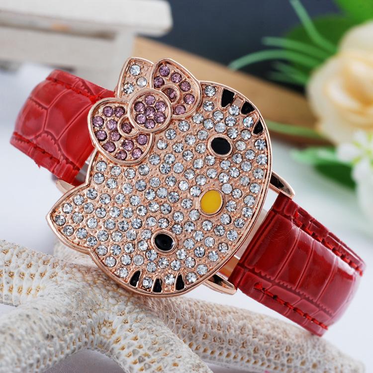 2016 relojes mujer fashion casual watch quartz watches women dress cut hello kitty children kid cartoon leather strap wristwatch(China (Mainland))