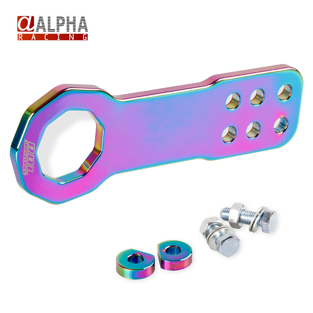 Alpha Racing-High Quality Universal Neo Chrome JDM Aluminum Car Front Tow Hooks Towing Hook Kit(China (Mainland))