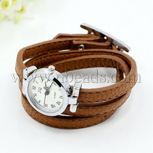 Fashionable PU Leather Wrap Watch Bracelets, with Alloy Watch Face and Alloy Findings, Platinum Metal Color, SaddleBrown(China (Mainland))
