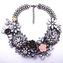 Winter New Fashion Luxury Crystal Flower Clear za Big Brand Party Jewelry Statement Shourouk Clain Choker