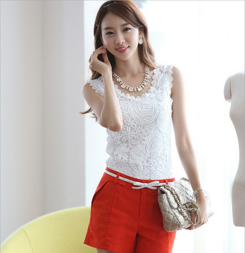 2015 Plus Size S-XL Summer Women Blouse Lace Sleeveless Vintage White Crochet Casual Shirts Tops(China (Mainland))