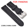 Black high quality waterproof silicone Watchband 22mm 24mm 26mm silicon rubber strap For panerai