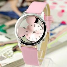 Relojes Mujer 2015 nueva moda casual Relojes mujeres se visten de cuarzo reloj de Mickey del cuero del dial hueco pulsera relogio feminino