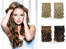 16 Colors Fashions women Long 24inch 60cm 5 Clip in On Curly Hair Extensions Synthetic Hair Blonde Naturalt Hair Hair pieces
