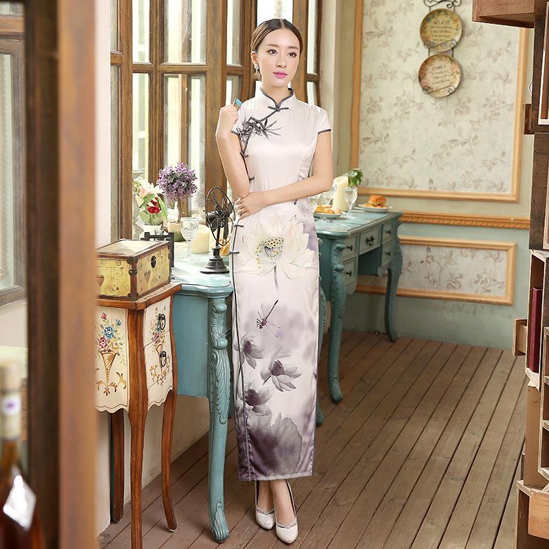 New Fashion long Cheongsams Qipao Plus Size sexy Silk Satin Maxi Dress Chinese Traditional Dress short sleeve long dresses