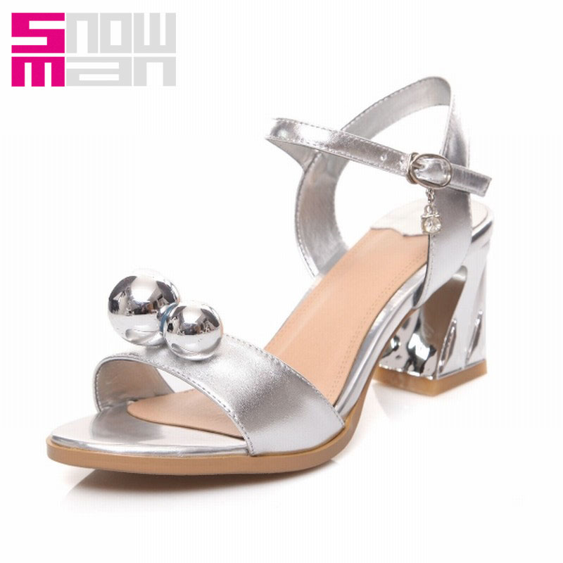Popular Genuine Leather Ankle Strap Sandals Fashion Slingbacks Beading Charm Shoes Woman Open Toe Hoof Heels Summer Sandals