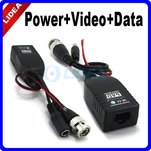 UTP Network Power + Data + Balun CAT5 to Camera CCTV Accessories HK B-08(China (Mainland))