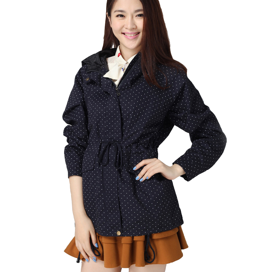 4XL 2015 Women Trench Coat Spring Autumn Cute Polka Dots Hooded Trench Abrigos y Chaquetas Fashion Plus Size Coat(China (Mainland))