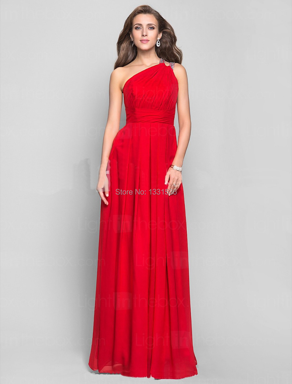 One Shoulder Red Prom Dresses Plus Size 2014 New Red One Shoul...