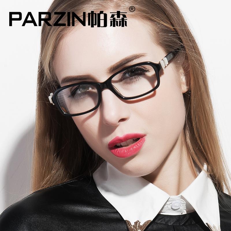 Parzin Bow Design Eyeglasses Frames Women Myopia Glasses Frame Female Acetate Glasses Frame Plain Glasses Black With Case 3329(China (Mainland))