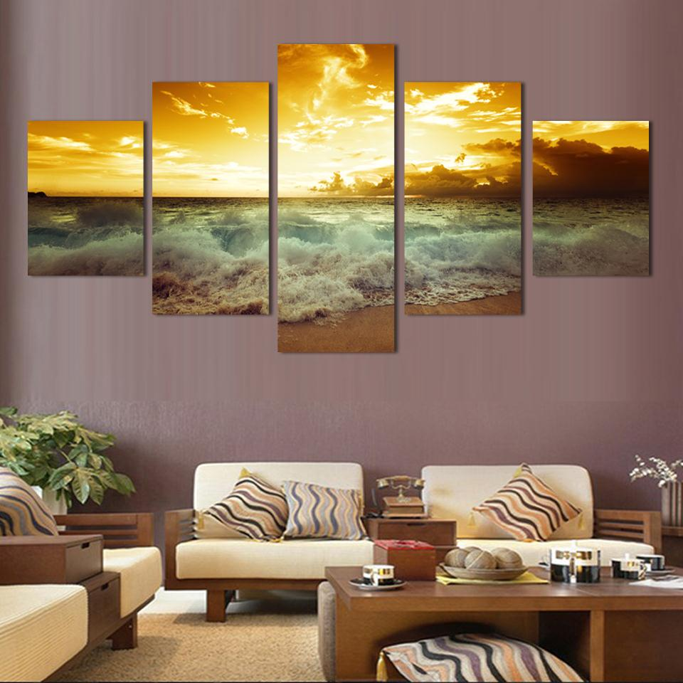 fashion wall art sea full sunrise home decoration abstract large canvas paintings 5pcs set no. Black Bedroom Furniture Sets. Home Design Ideas