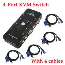 2016 nova 4 porto USB KVM Selector Box com 4 pcs VGA cabo Hub para PC teclado Mouse Monitor de 1920 * 1440 atacado(China (Mainland))