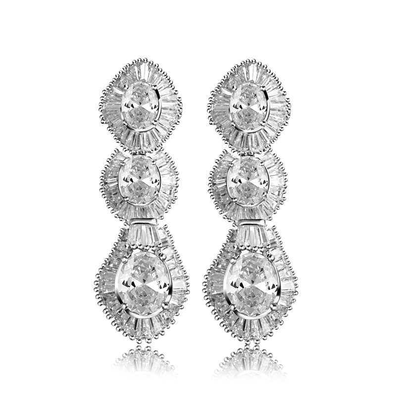Top Quality Cubic Zircon Bridal Jewelry Wedding 8-Shaped Oval Ladies Halo Style Dangling Drop Earrings(China (Mainland))